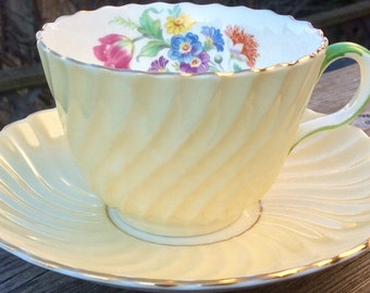 Buttery Yellow Aynsley Swirl Teacup and Saucer