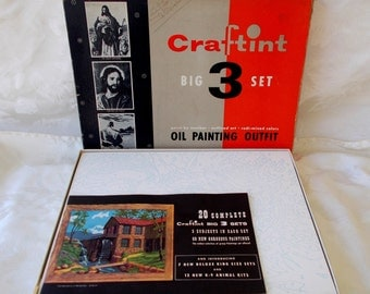 Vintage Craftint Big 3 Set Paint by Number Kit, Religious,Christian