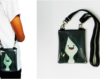 Marceline Vampire Queen Adventure Time Bag Clear Transparent Vinyl Plastic Pouch Iphone Gift for Kids Girls Crossbody Shoulder Satchel Purse