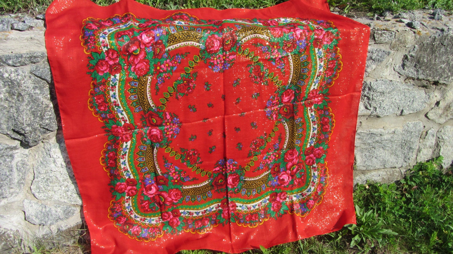 Asian Red Floral Vintage Shawl, Asian Floral Red Wool Scarf, Asian style shawl,