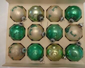 Vintage Christmas tree ornaments. 12 inbox USA