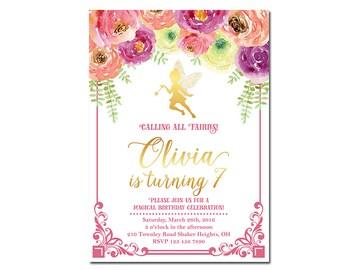 Fairy Birthday Invitation, Fairy Garden Invitation, Fairy Woodland Invitation, Fairy Floral Invitation