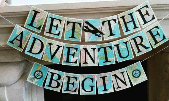 Adventure Banner, Adventure Theme Travel Theme Banner, Retirement Party,  Bridal Shower, Baby Shower,graduation Party, Going Away, Map Decor,