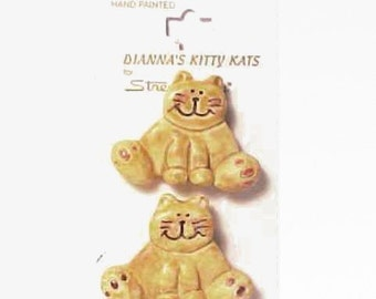 "Cat Buttons Dianna's Kitty Kats for Streamline  ""Fat Cat""  2 Buttons 1 1/4"" or 30mm"
