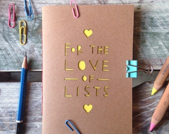 Fun A6 Paper Cut recycled Notebook 'For the love of lists' Blank Coloured Pages