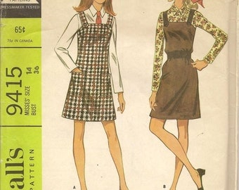 1960s Vintage McCalls 9415 Jumper Dress Blouse Sewing Pattern Size 14