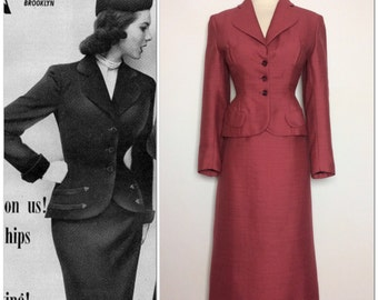 SOPHISTICATED Designer Forstmann styled in Paris Bellciette 50s 1950s suit Rockabilly Hourglass Fitted Jacket and Skirt