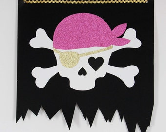 Pink Pirate flag pre-assembled, pirate decoration ,skull + crossbones, black, pink & gold, hand made paper flag, pirate birthday, back drop