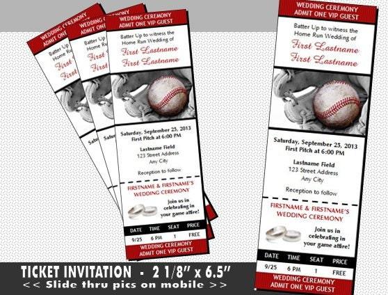 Baseball Wedding Invitation: Baseball Wedding Ticket Invitations Set Of 12 Admit One