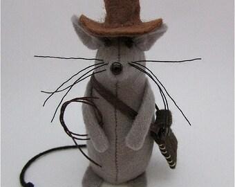 Indiana Jones Mouse-  Mouse Cake Topper - Felt Mouse - Felt Mice - Indiana Jones Ornament