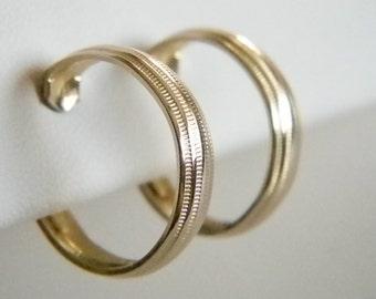 Gold Tone Finish Hoop Clip Earrings