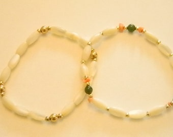 Cream Green Coral Gold Accents Stretchy Bracelets
