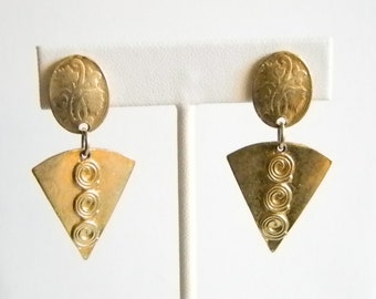 Satin Gold Tone Medieval Design Triangle Dangle Clip Earrings