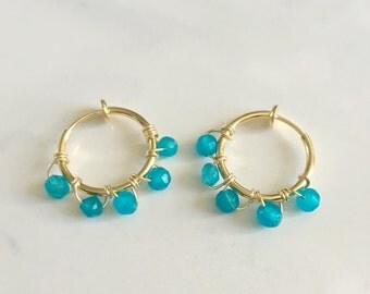 Aquamarine Non pierced gold hoop earrings with Aquamarine gemstones, pierced look hoop earrings everyday jewelry