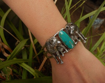 CAROL FELLEY Double Wolf Cuff.  Large 3 band Southwest turquoise and sterling cuff bracelet rare and collectible.