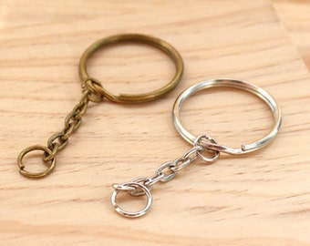 20Pcs 30mm Round Key Ring with Chain / Antique Brass / Sliver