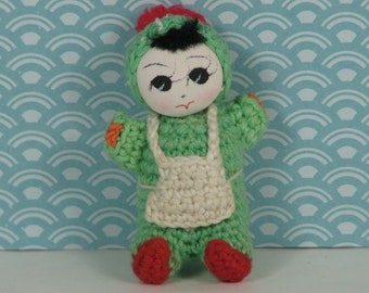 Vintage crochet doll Chinese 1970s mint green red white