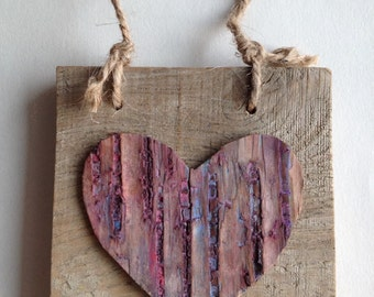 Painted Birch Bark Heart on Reclaimed Pallet Wood, Love, Rustic Valentine
