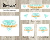 Diamond banners, watercolor banners, etsy shop banner set, etsy cover banner, gem banners, blue banner set, jewelry banner, bijoux banner