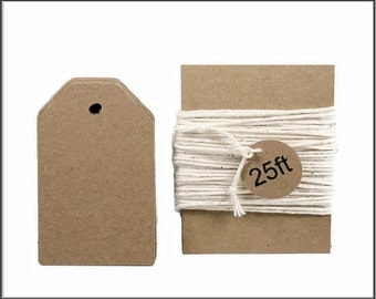 "25 Kraft tags, Tags with String, Wedding tags, Size 3"" x 1.75"""