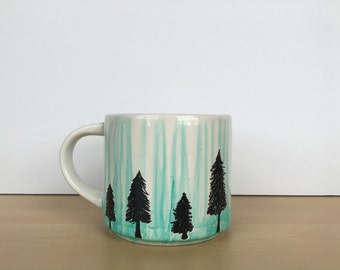 Hand painted watercolor ceramic mug, hand painted mug, 12 oz mug, watercolor mug