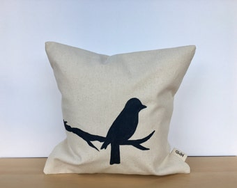 Bird pillow, bird pillow cover, bird throw pillow, hand painted pillow, custom pillow, bird decor, housewarming gift, decorative pillow