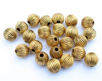 10 pcs Antiqued Gold Corrugated Metal Beads, Gold Tone Spacers, Round 10 mm