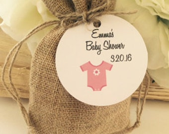 24 baby shower favor tags, boy or girl baby shower tags, baby shower favors, onesie baby shower favors, personalized baby shower tags