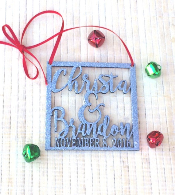 personalized ornament, personalized name ornament, christmas wedding ornament, first christmas ornament, christmas wedding decor