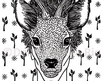 As a deer; n.1; archival print of original handmade ink drawing