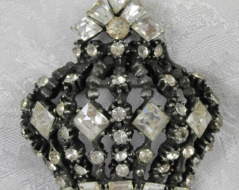 Vintage B. Blumenthal Crown Brooch Pin Clear Rhinestones