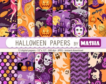 "Halloween papers: ""HALLOWEEN DIGITAL PAPERS"" with halloween pattern, witch pattern, pumpkin pattern, ghost, 12 images, 300 dpi. jpg files"
