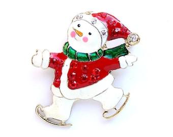 Snowman Brooch, Christmas Jewelry, Snowman Broach Pin, Ice Skating Snowman, Broaches, Xmas Jewelry, DIY Project Jewelry Craft Embellishment