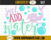 Just Add Water With Mermaid and Bubbles 4x4 5x7 6x10 Machine Embroidery Design pes jef dst hus vip vp3 xxx exp