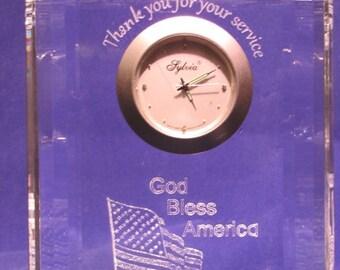 Personalized Desktop Clocks, Custom Engraved Desktop Clock~ Military Desktop Clock Thank you for your service