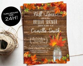 Autumn Bridal Shower Invitation, Fall In Love Invitation, Fall Rustic Bridal Shower, Fall Wedding Shower