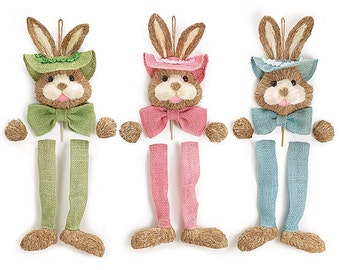 New Sisal Bunny for Easter Decor, Bunny Wall Hanging, Easter Mesh Wreath Supply, Bunny for Easter Crafts Blue, Pink or Green
