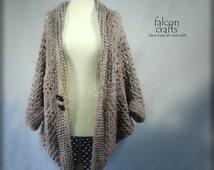 womans crochet shrug,long lenght,light brown,womans long crochet wrap sweater, handmade buttons,arran yarn,polymer clay,long womans shrug