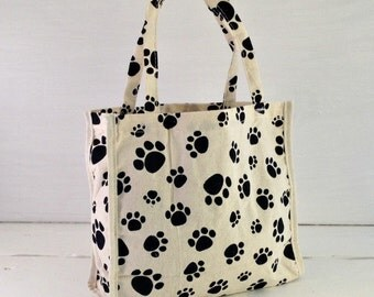 Paw Print Cotton Gift Bag, Gift Bag With Paw Print, Cute Gift Bag, Gift Bag for Pets, Paw Print Gift Bag, Holiday Gift Bag For Animal Lovers
