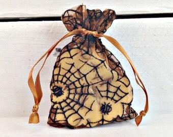 Halloween Favor Bag, Soap Favor Bag, Spider Web Favor Bag, Small Organza Bag, Black Favor Bag, Bridal Favor Bag, Halloween Party Favor Bag