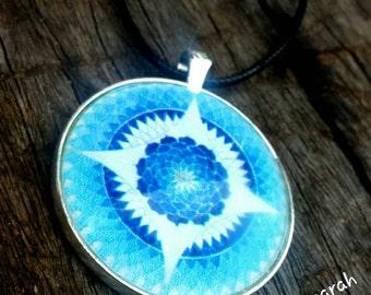Mandala Clarity Blue Stargate pendant necklace.