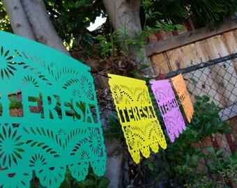 Papel picado name banner / Mexican banner / Colorful banner / Multi color banner / Fiesta banner / papel picado banner