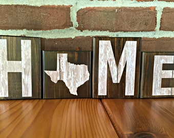 Texas Home Blocks | Rustic Wooden Letter Blocks | Wooden Home Decor | Housewarming Gift | Gift Under 20 | Texas Decor | State of Texas