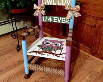 Childs Rocking Chair, Kids Rocker, Kids Sized Chair, Hand-painted Rocking Chair