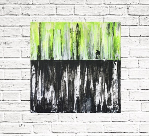 Art Wall Jr Green Jacket : Rain umbrella girl abstract original painting neon green black