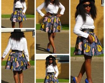 Towani Ankara Mini Skirt,  African Print Skirt, Gathered Mini Skirt Ankara Skirt Size 6,8,10 and 12UK/2,4,6,8USA READY To Ship