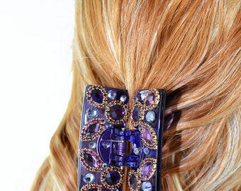New Violet With Amber Crystal & Rhinestone 2'' Hair Claw Clip