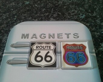 Route 66 Fridge Magnet Set. Classic Road Signs. The Mother Road. Americana