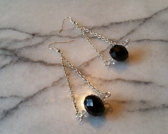 Silver Double Chain Drop Earrings with Black and Clear Crystal Glass Beads Handmade Pierced Earrings
