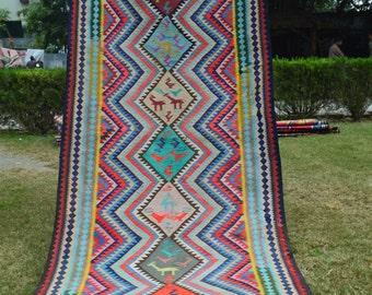Vintage Caucasian Qafqazi Design Daghestan Group Tribal Pictorial Runner